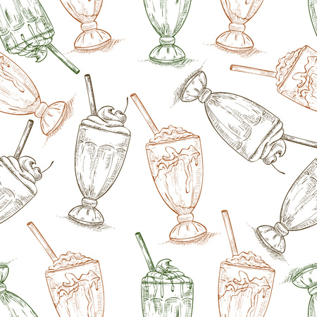 eatery: Seamless pattern scetch of three types milkshake. Sketched fast food vector illustration. Background with drink for cafe, restaurant, eatery, diner, website or take away bag design