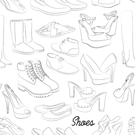 plimsolls: Shoes scetch pattern of different shoes for man and woman. Vector illustration, EPS 10