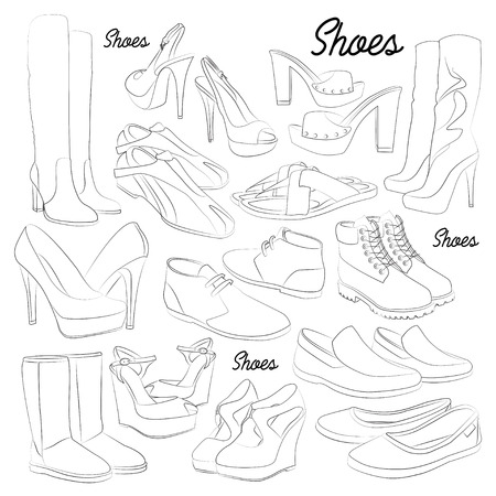 Set of different shoes for man and woman. Vector illustration