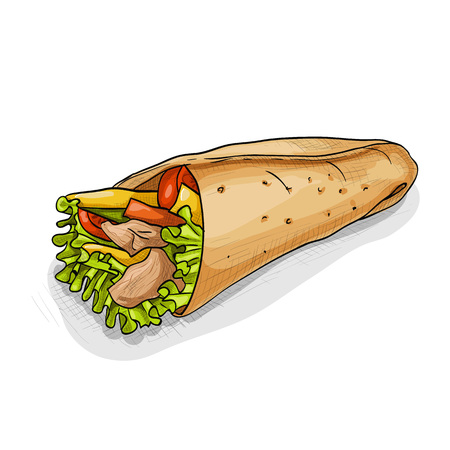 Mexican traditional food background with burrito. Hand drawn sketch vector illustration. Burrito color picture sticker