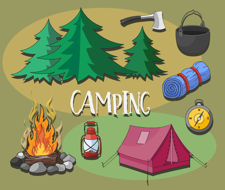 boy scouts tent: Set of camping equipment symbols and icons.