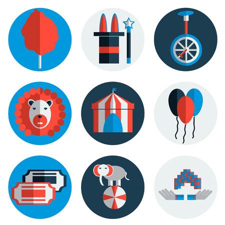 circus caravan: Circus icons flat set isolated icons with long shadows on circles.