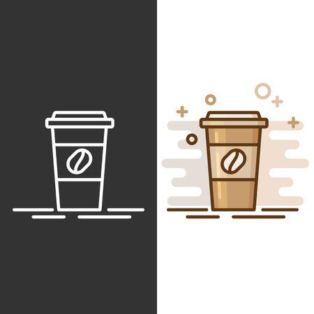 Koffiekopje illustratie pictogram. Plastic koffiekop met hete koffie in vlakke stijl.