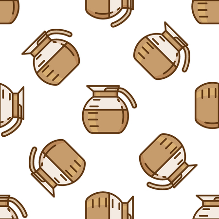 coffee pot: Coffee pot pattern. Doodle set of coffee pot.
