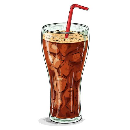 cold drinks: Glass of soda with ice.