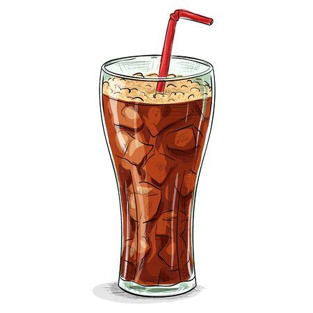 bebidas frias: Vaso de refresco con hielo.