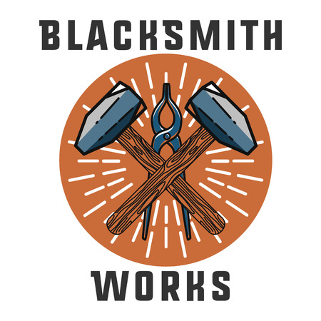 blacksmith: Color vintage Blacksmith emblem. Blacksmith theme- working craftsman hammers anvil chain horseshoe wheat and inscriptions isolated vector illustration