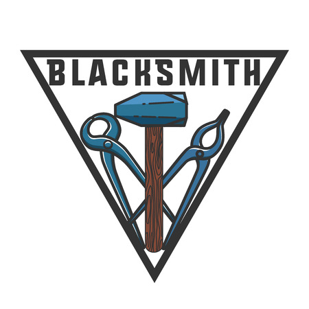 craftsman: Color vintage Blacksmith emblem. Blacksmith theme- working craftsman hammers anvil chain horseshoe wheat and inscriptions isolated vector illustration