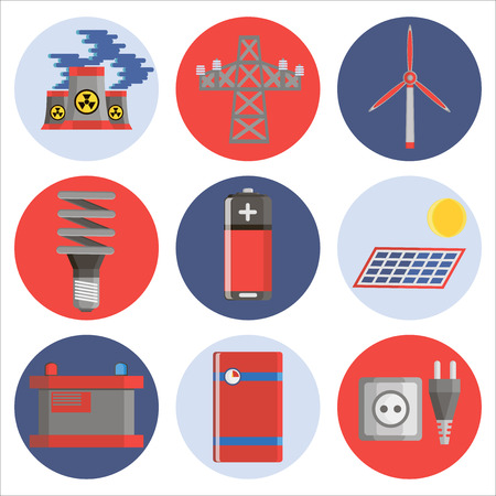storing: Energy generating and storing systems with high power sustainable batteries. Flat icons set abstract isolated vector illustration Illustration
