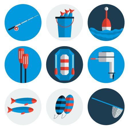 flat: Fishing flat icons. Flat style. Illustration