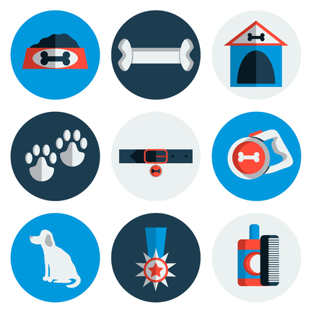 kennel: Dog icons flat set with dung kennel leash food bowl isolated vector illustration