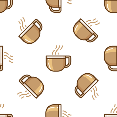 tiling: Glass coffee cup pattern. Coffee break tiling background.