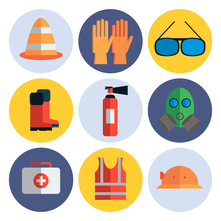 Safety work icons flat style. Safety icons vector illustration. Safety icons isolated on white background. Safety work icons. Safety symbols elements collection. Safety at work vector icons collection 免版税图像 - 58762461