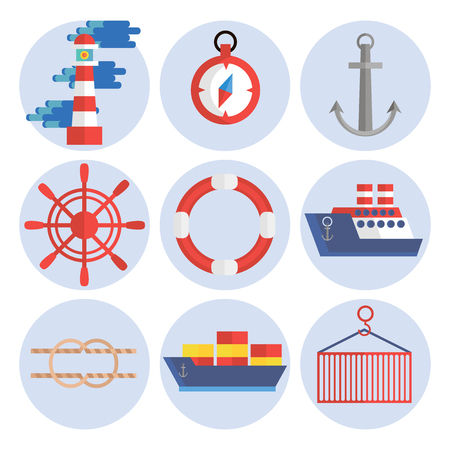 sea port: Sea port flat icons set with anchor container ship lifebelt isolated vector illustration