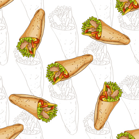 scetch: Seamless pattern burrito scetch and color. Tasty Mexican Burrito