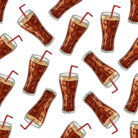 scetch: Seamless pattern color cola scetch. Vector Background Illustration