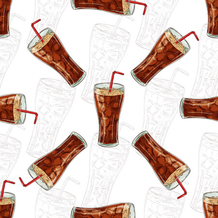 scetch: SSeamless pattern color cola scetch. Vector Background