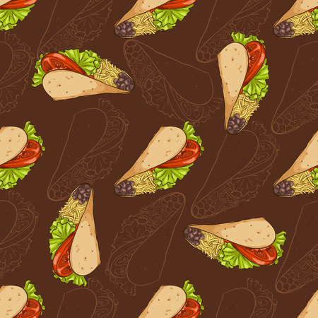 scetch: Seamless pattern scetch and color taco on dark background. Vector illustration Illustration