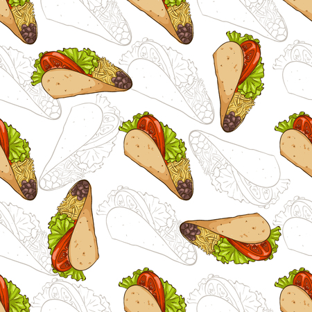 Seamless Pattern with color Mexican Taco. Vector illustration