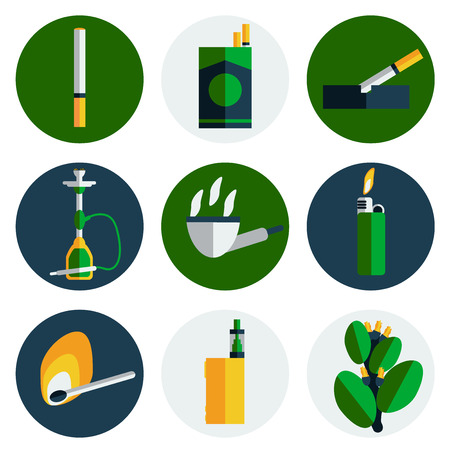 hazards: Smoking flat icons set with cigarette danger and hazards symbols isolated vector illustration