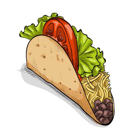 Ilustración del vector de comida rápida Taco mexicano. diseño del estilo del bosquejo.