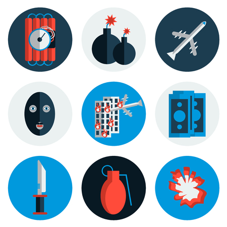 icônes de terrorisme définis avec le type de crimes terroristes symboles isolés illustration vectorielle différente. le style plat