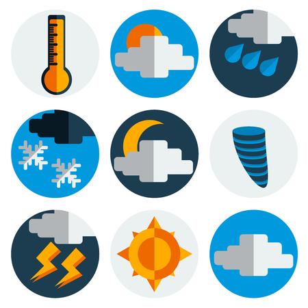 meteorology: Meteorology Weather flat icons set. Vector illustration