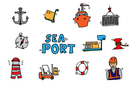 port: Sea port colorful icons set with ships and marine transport isolated vector illustration Illustration