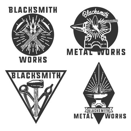 blacksmith: Set of vector blacksmith related. Blacksmith, metal works badge, design elements, emblems, signs, symbols, labels Vintage style