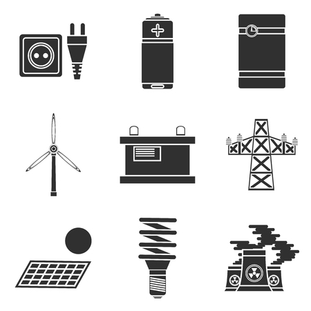 storing: Energy generating and storing systems with high power sustainable batteries. Icons set abstract isolated vector illustration