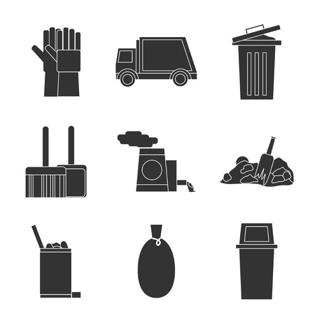 trashing: Garbage icons set with trash bin cleaning bulldozer isolated vector illustration