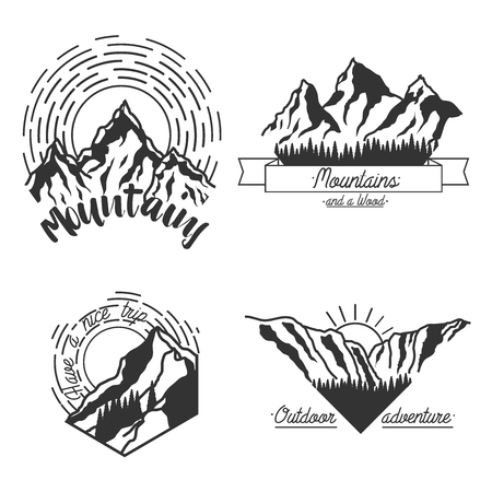 patrol: Mountain climbing color vector labels and emblems. Ski Resort vintage. Mountain downhill, extreme patrol.