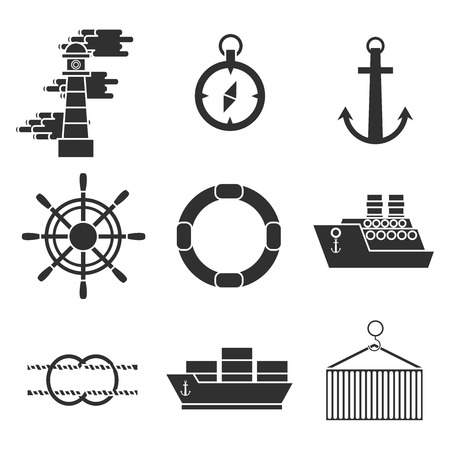 sea port: Sea port icons set with anchor container ship lifebelt isolated vector illustration