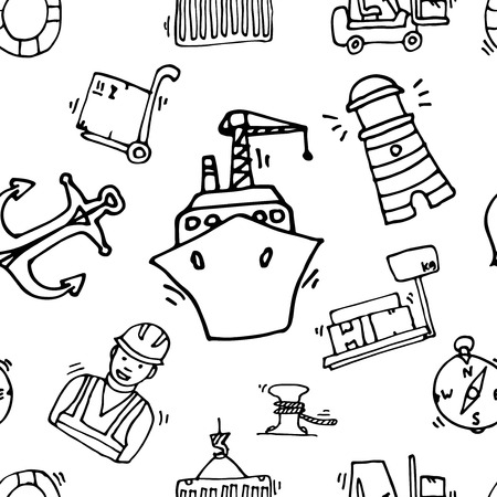 sea port: Sea port black icons pattern with ships and marine transport isolated vector illustration
