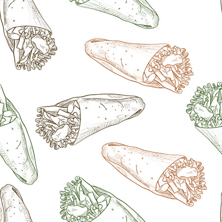 scetch: Seamless pattern burrito scetch. Tasty Mexican Burrito Illustration