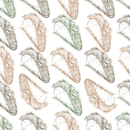 scetch: Seamless Pattern scetch with Mexican Taco. Vector illustration