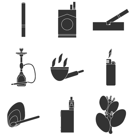 hazards: Smoking icons set with cigarette danger and hazards symbols isolated vector illustration