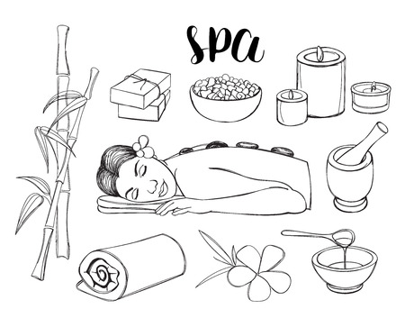 body massage: Spa doodle hand drawn sketch icons set with towels aroma candles vector illustration.