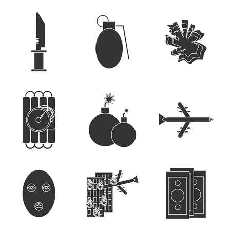 detonator: Terrorism icons set with different type of terror crimes symbols isolated vector illustration.