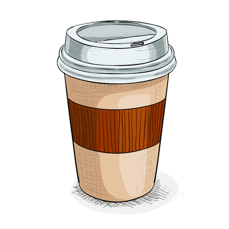 takeout: Close up take-out coffee with brown cap and cup holder. Isolated on white background. Vector Illustration.