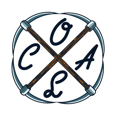 coal mining: Color vintage coal mining emblem, label, badge. Vector illustration Illustration