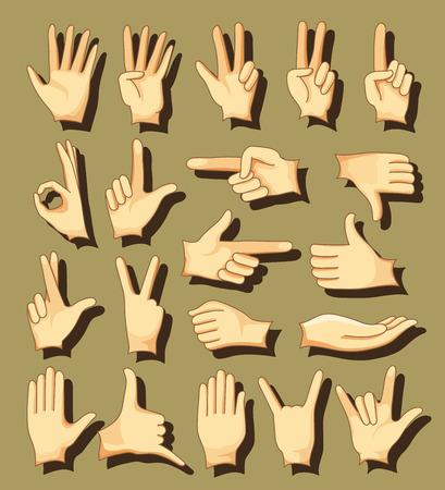 dedo me�ique: Colecci�n Mano humana, manos diferentes, gestos, se�ales y signos. Vector conjunto de iconos