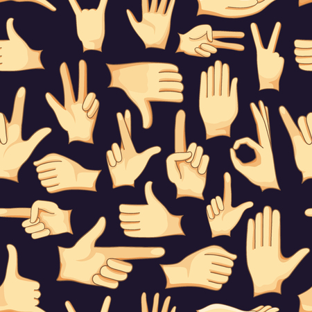 dedo me�ique: Human Hand signs icons set pattern, different hands, gestures, signals and signs. Vector icon set