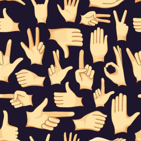 dedo meÑique: Mano humana signos iconos conjunto de patrones, diferentes manos, gestos, señales y signos. icono conjunto de vectores