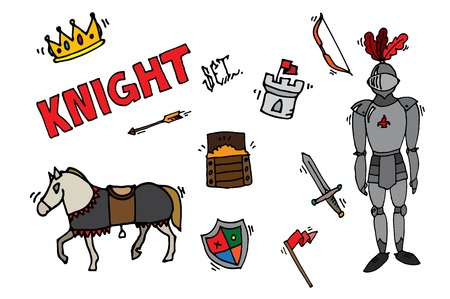 lance: Medieval kingdom legendary armored knight warrior with lance and attributes flat icons set abstract isolated vector illustration