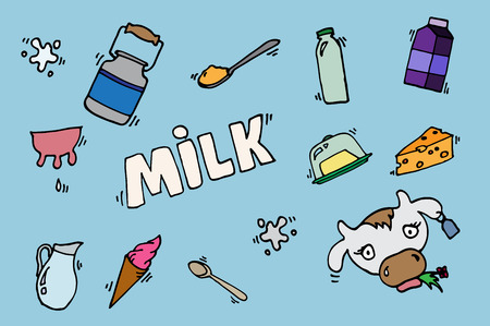 milk production: Milk, cheese production, cow vector icons set