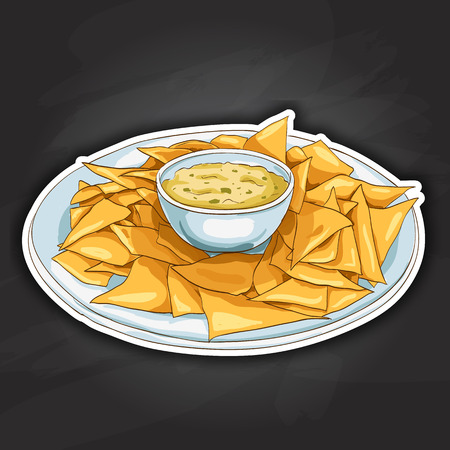 nachos: Nachos.Tortilla Chips. Detailed Vector Icon. Series of food and drink and ingredients for cooking. Illustration