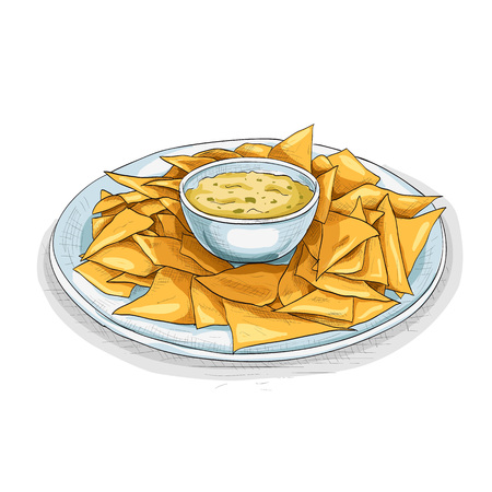 mexican food plate: Nachos.Tortilla Chips. Detailed Vector Icon. Series of food and drink and ingredients for cooking. Illustration