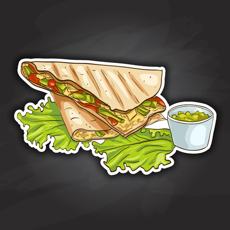 twain: Quesadilla color picture sticker. Mexican traditional food background with quesadilla. Hand drawn sketch vector illustration. Vintage Mexico cuisine banner