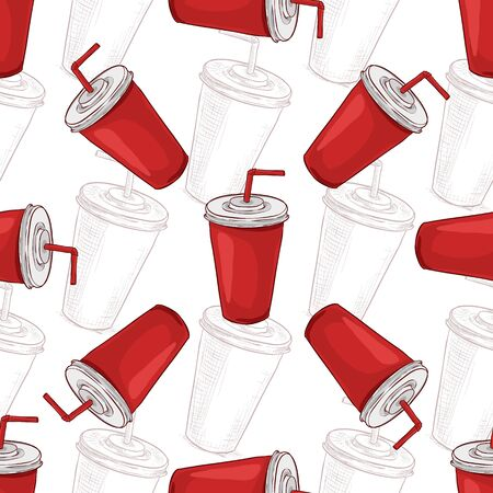 scetch: Seamless pattern cola cup scetch and color. Vector illustration